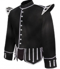 Tunic Doublet Black With Silver Braid
